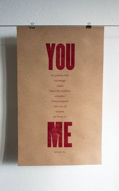 You & Me Print 11x18 Kraft Paper by constellationco on Etsy