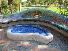 Eclectic organic mosaic-Passiflora Mosaics-Fred and Donnell Pasion Garden Seating, Outdoor Seating, Outdoor Spaces, Outdoor Decor, Mosaic Garden, Garden Art, Barcelona Bench, Mosaic Furniture, Mosaic Wall