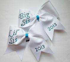 Big Sis and Lil' Sis crystal rhinestone cheerleading hair bows by Lucky Girl Cheer Bows http://www.etsy.com/shop/LuckyGirlCheerBows