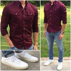 If you don't have a @batchmens utility shirt yet, I highly recommend you pick one up. It's a super comfortable, versatile, and masculine shirt.  And, if you want to turn heads, opt for a burgundy one like this❗️ Do you like this outfit❓  Shirt: @batchmens  Sneakers: @greatsbrand  Denim: @dstld  Watch: @avi_8  _______________________________________________________ • • • • •  #classicstyle #casualstyle #currentlywearing #dailylook #instamoda #fashiongram #jeans #sneakers #modamas...