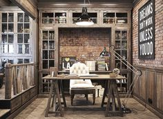 Epic Vintage Home Office Tour: Exposed brick walls, floor to ceiling storage, and subway style poster art
