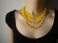Grace Lemon Yellow Beaded Crochet by irregularexpressions, $108.00