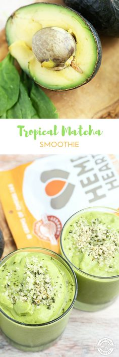 This Tropical Matcha Smoothie made with Hemp Hearts, avocado, matcha, mango, and kale is the perfect drink to sip for breakfast or as a healthy snack. Blend one up today! Milkshake Recipes, Smoothie Recipes, Milkshakes, Smoothie Au Matcha, Healthy Eating Recipes, Healthy Snacks, Hemp Recipe, Green Tea Recipes, Acide Aminé