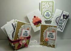 by Becky: Best Day Ever (SAB) plus the Artisan Embellishment Kit. All supplies from Stampin' Up! Becky Roberts, Greeting Card Box, Berry Baskets, 3d Projects, Best Day Ever, Stampin Up, Embellishments, Birthday Cards, Berries