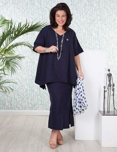 Plus size Tipton navy top and Sandford skirt