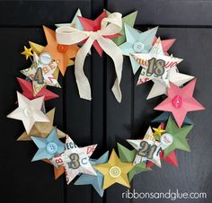 DIY Birthday Star Wreath using Echo Park Paper and a Silhouette CAMEO - fun Silhouette party project!  - Ribbons & Glue