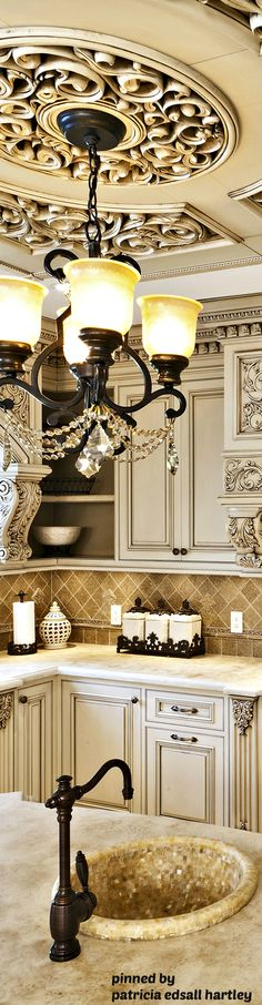 French & Tuscan Design Kitchens Stunning medallion/ceiling feature and chandelier in kitchen