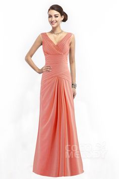 Divine+Sheath-Column+V-Neck+Natural+Floor+Length+Chiffon+Orange+Sleeveless+Zipper+Bridesmaid+Dress+with+Pleating+COZF1401E