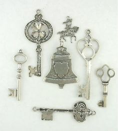 ANTIQUE Sterling Silver KEY Charms FOBS