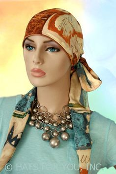$26.00 - French Design Long Tail Head Wrap     #cancer #chemo #alopecia #hair loss