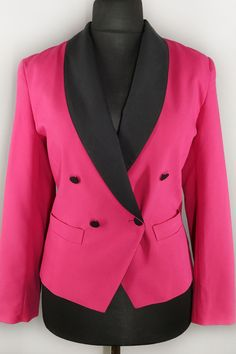 Bright vintage blazer in hot pink and black colors. Built-in light shoulder pads and fitted waist create a very figure flattering silhouette. Vintage Shops, Vintage Items, Black Colors, Double Breasted Blazer, Shoulder Pads, Bright Pink, Vests, Hot Pink, Blazers