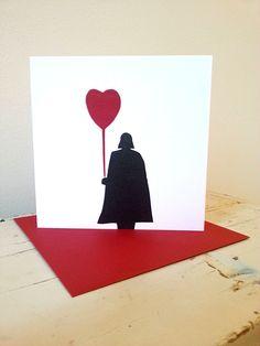 Darth Vader linocut hand printed square anniversary / birthday card / valentine by BlueHartPress on Etsy https://www.etsy.com/listing/174926491/darth-vader-linocut-hand-printed-square