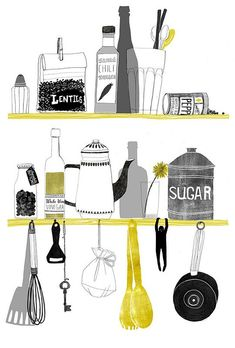 kitchen print, illustration, food, drawing, colour, utensils, cooking