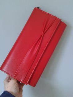 Vintage 1980s red clutch bag with detachable shoulder strap by DottysVintageFinds on Etsy
