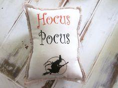 Halloween pillow, hocus pocus pillow ,orange shabby chic, farmhouse decor, cottage style pillow, holiday pillow, halloween., via Etsy.