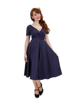 Collectif Vintage Maria Plain Swing Dress