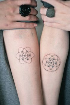 http://tattoo-ideas.us/wp-content/uploads/2014/06/Matching-Tattoos-Metatrons-Cube.jpg Matching Tattoos – Metatron's Cube #ArmTattoo, #ArmTattoos, #CubeTattoo, #MatchingTattoos, #MinimalTattoos, #TattooIdea