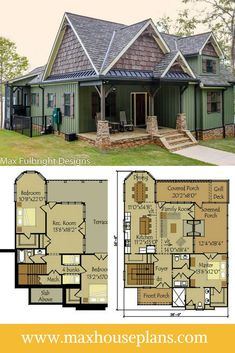Small Cottage Plan with Walkout Basement Small Cottage House Plans, Small Cottage Homes, Cottage Floor Plans, Lake House Plans, House Plans One Story, Dream House Plans, Cabin Plans, Cottage Kitchens, Cozy Cottage