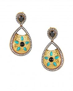 Leaf Shape Golden Earrings with Black Stone Top