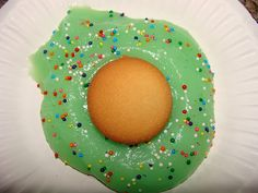 green eggs - pudding and nilla wafer--nice variation on the usual green food coloring in scrambled eggs