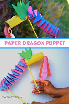 Paper Dragon Puppet Craft for kids