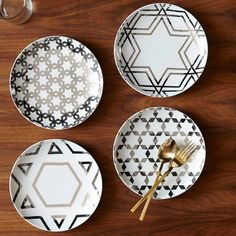 ON SALE! Silver Star Hanukkah Plates