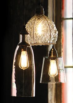These Reproduction Warehouse Lights from Kalalou are made of recycled glass. Las Vegas showroom: WMC C-0787