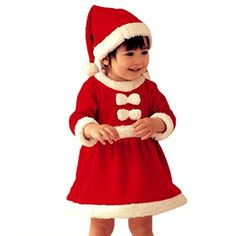 Voberry Girls Kids Costume Baby Girl's Santa Claus Girl Christmas Hats and Dress (90) * Check this awesome image @