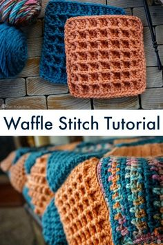 Waffle Stitch Tutorial: Video and Written Instructions Ahh, the Waffle Stitch. Such a fun and textured crochet stitch, and much easier than it looks! Granny Square Crochet Pattern, Crochet Stitches Patterns, Crochet Squares, Crochet Granny, Knitting Patterns, Crochet Square Blanket, Crochet Blocks, Crochet Borders, Afghan Patterns