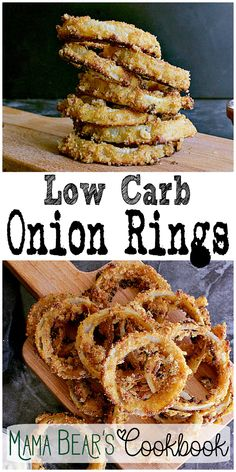 An epic side dish for any low carb meal or the perfect snack, these Low Carb Onion Rings are oven baked and super crispy with an addicting salty crunch! #lowcarb #keto #onionrings #sidedish #healthy #mamabearscookbook