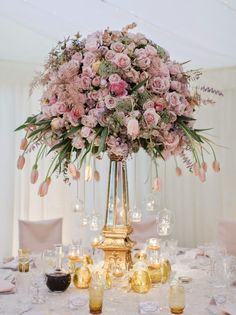 Old School Hollywood Glamour: The Breathtaking Wedding of Charlotte and Teddy Floral Centerpieces, Wedding Centerpieces, Wedding Bouquets, Floral Arrangements, Wedding Flowers, Centerpiece Ideas, Tall Centerpiece, Wedding Tables, Umbrella Centerpiece