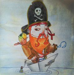Pirata Barbarroja. Lápices sobre papel tratado. #ilustracion #illustration #piratabarbarroja