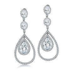 Bling Jewelry Fancy Clear CZ Triple Teardrop Chandelier Earrings ($101) ❤ liked on Polyvore