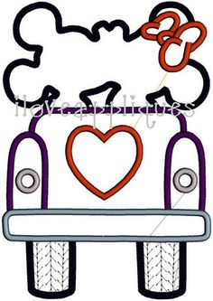 INSTANT DOWNLOAD Valentine Mickey Minnie Heart Car Embroidery Applique Machine Design 2 Digital Files