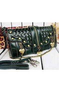 Exquisite Weaved Studded Zipped Clutch Bag OASAP.com