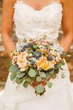peach bouquet, photo by Mary Margaret Smith http://ruffledblog.com/birmingham-botanical-gardens-wedding #weddingbouquet #flowers