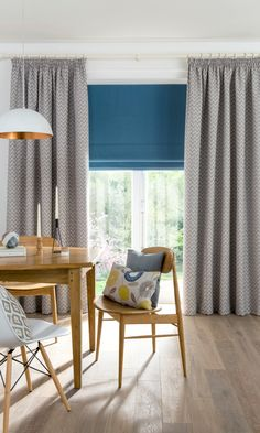 Bring a modern Scandi look to your home by mixing muted patterns with bright pops of colour, add wooden furniture and hints of metallics. Made to measure Romans and Curtains would work wonderfully with this look perfect for living rooms and kitchens.