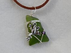 Wire Wrapped Recycled Green Glass Necklace by UniqueChiqueJewelry, $12.00