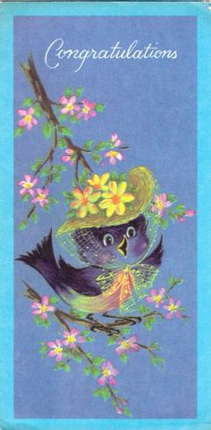 Vintage bluebird greeting card
