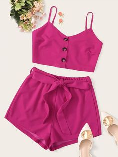 To find out about the Buttoned Cami Top & Self Belted Shorts Set at SHEIN, part of our latest Two-piece Outfits ready to shop online today! Cute Girl Outfits, Teen Fashion Outfits, Cute Casual Outfits, Short Outfits, Outfits For Teens, Summer Outfits, Girl Fashion, Casual Suit, 2 Piece Outfits