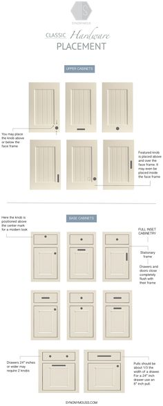 Guide To: Classic Cabinet Hardware Placement – Knobs and Pulls Placement – Synon… - Modern Kitchen Door Knobs, Cabinet Door Handles, Kitchen Cabinet Hardware, Handles For Kitchen Cabinets, Hardware For Cabinets, Kitchen Knobs And Pulls, Bathroom Cabinets, Cabinet With Doors, Copper Cabinet Pulls