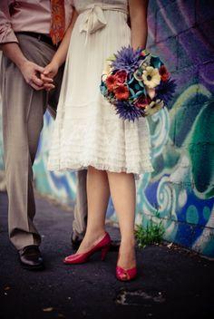 Artsy paper flower wedding bouquet