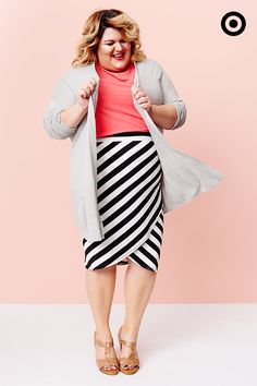 Cardigans are perfect for keeping your outfit versatile during unpredictable springtime weather. Layered with this AVA & VIV Plus black-and-white-striped tulip skirt and accented with a pop of coral, we've definitely got one of our favorite looks this season.