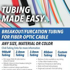 Tubing Made Easy. Breakout/furcation tubing for fiber optic cable. Any size material or color. Made in America with American materials by American workers. tubing@opticonx.com or call 860-821-3222. http://ift.tt/2fEP0sD  #fiberoptic #furcation #madeinamerica