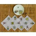 """<p dir=""""ltr""""><span>Jeweled toned scarabs and beautiful beetles adorn our Bugs cocktail napkin. Invite these bugs to your next picnic and party! </span></p> <div><span><br /></span></div>"""