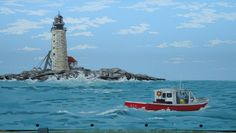 Maine Coast Mailbox with Lighthouse hand painted by PatMcWhorter