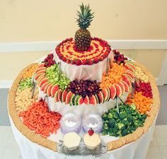 Our Stunning Fruit, Cheese and Vegetable Tower with Dips and Crackers