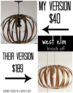 DIY Bentwood Pendant Light- west elm knock off decor