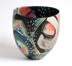 carolyn genders work - click the image or link for more info. Glass Ceramic, Ceramic Clay, Ceramic Bowls, Pottery Painting, Ceramic Painting, Pottery Art, Pottery Clay, Slab Pottery, Contemporary Ceramics