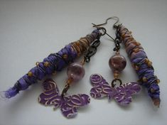 Recycled Sari Silk cacoon wire wrapped in TOHO seed beads with patinaed embossed butterfly earring handmade by me by AvesDesign, $42.00 USD
